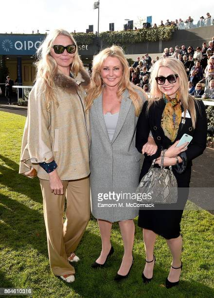 Jodie Kidd Carol Vorderman and friend Clare Holt during the QIPCO British Champions Day at Ascot Racecourse on October 21 2017 in Ascot United Kingdom