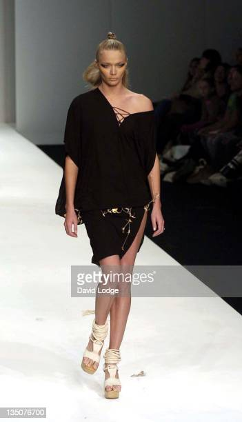 Jodie Kidd during London Fashion Week Spring 2005 Koshino Runway at BFC Tent in London Great Britain