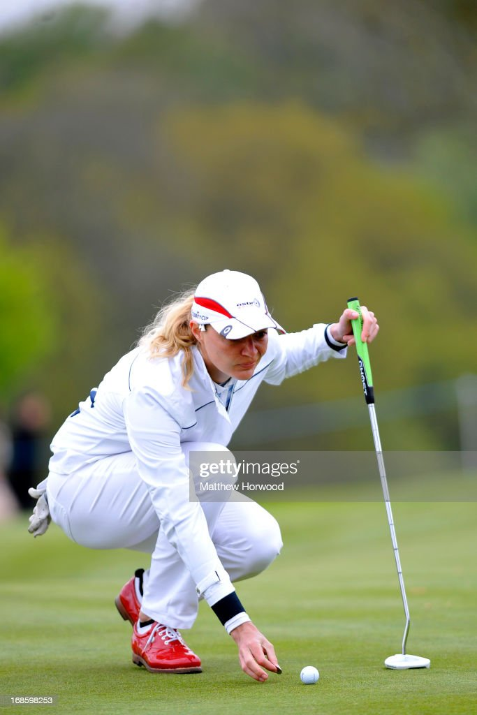 <a gi-track='captionPersonalityLinkClicked' href=/galleries/search?phrase=Jodie+Kidd&family=editorial&specificpeople=178960 ng-click='$event.stopPropagation()'>Jodie Kidd</a> prepares to putt at the Celebrity Golf Club Live event at Celtic Manor Resort on May 12, 2013 in Newport, Wales.