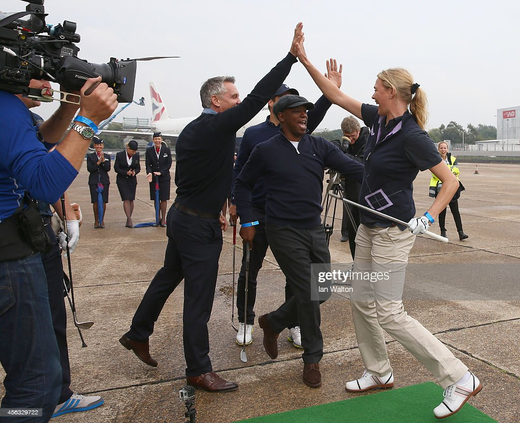 Jodie Kidd reacts after playing a shot to a target 180 yards away during an event to raise funds for the Kate and Justin Rose Foundation at Heathrow Airport on September 29, 2014 in London, England. British Airways has donated flights to the Kate and Justin Rose foundation, which was created to inspire children through nutrition, education and experiences
