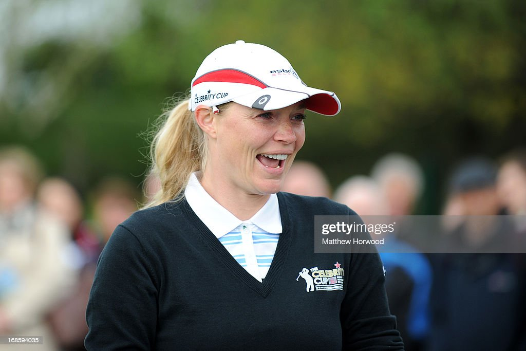 Jodie Kidd smiles at the crowd at the Celebrity Golf Club Live event at Celtic Manor Resort on May 12, 2013 in Newport, Wales.