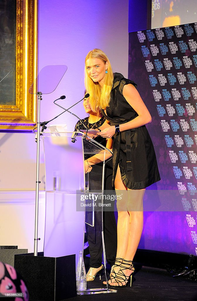 Jodie Kidd speaks onstage at The WGSN Global Fashion Awards at the Victoria & Albert Museum on October 30, 2013 in London, England.