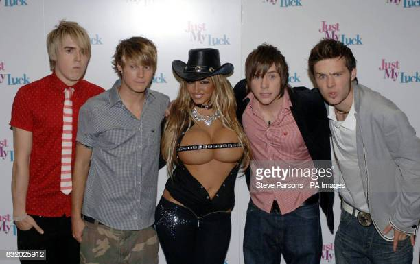 Jodie Marsh and Mcfly arrive at the UK Premiere of Just My Luck at the Vue West End central London