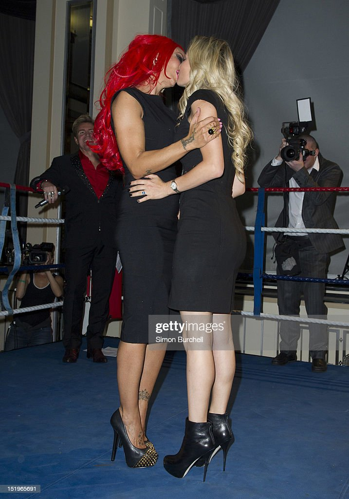 <a gi-track='captionPersonalityLinkClicked' href=/galleries/search?phrase=Jodie+Marsh&family=editorial&specificpeople=156427 ng-click='$event.stopPropagation()'>Jodie Marsh</a> (L) and Natasha Anastasia attend the Loaded Magazine female wrestling tournament - Queen Of The Ring at Bloomsbury Ballroom on September 13, 2012 in London, England.