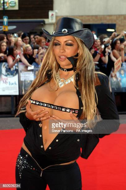 Jodie Marsh arrives at the UK Premiere of Just My Luck at the Vue West End central London