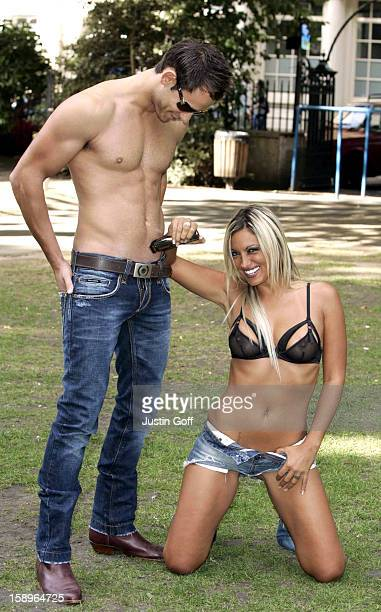 Jodie Marsh Promotes The Remington Body Hair Trimmer At A Photocall In London The Latest Trend Is For LowSlung Jeans Known As 'Pubic Pants'