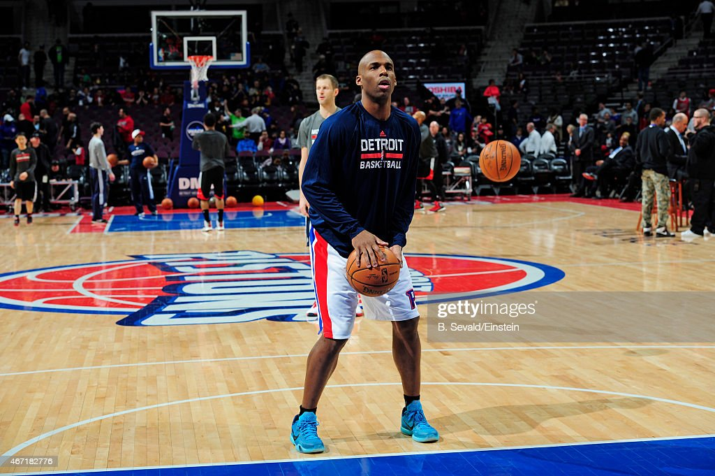 Jodie Meeks of the Detroit Pistons before the game against the Chicago Bulls on March 21 2015 at the Palace of Auburn Hills in Auburn Hills Michigan...