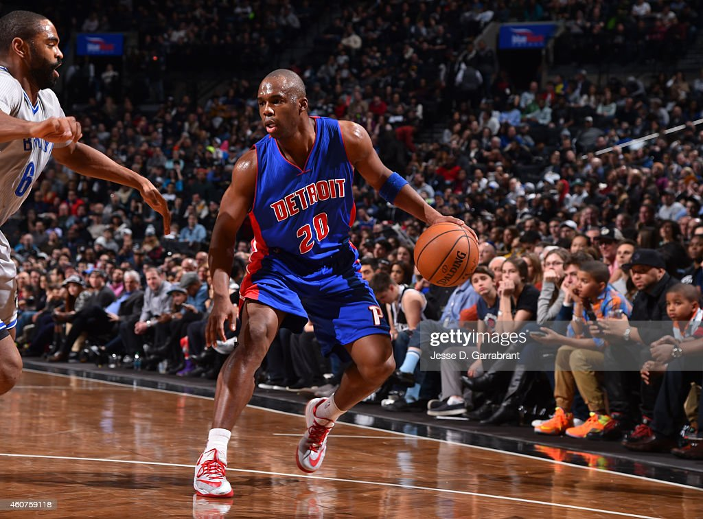 Jodie Meeks of the Detroit Pistons dribbles the ball against the Brooklyn Nets on December 21 2014 at the Barclays Center in Brooklyn NY NOTE TO USER...