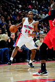 Jodie Meeks of the Detroit Pistons drives against the Atlanta Hawks on January 9 2015 at The Palace of Auburn Hills in Auburn Hills Michigan NOTE TO...