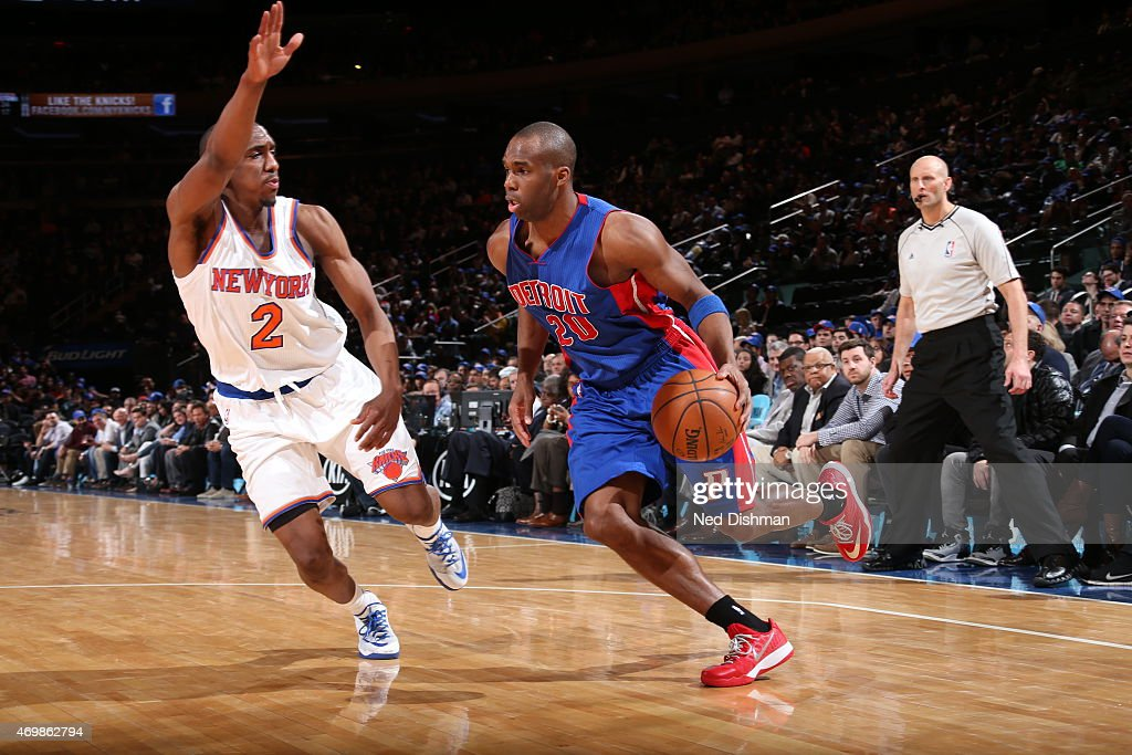 Jodie Meeks of the Detroit Pistons drives to the basket against Langston Galloway of the New York Knicks on April 15 2015 at Madison Square Garden in...