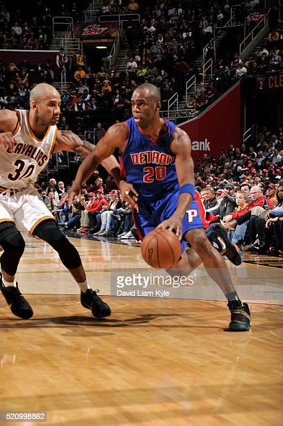 Jodie Meeks of the Detroit Pistons drives to the basket against Dahntay Jones of the Cleveland Cavaliers on April 13 2016 at Quicken Loans Arena in...