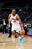 Jodie Meeks of the Detroit Pistons drives to the basket against the Miami Heatduring the game on February 3 2015 at Palace of Auburn Hills in...