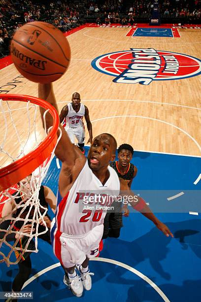 Jodie Meeks of the Detroit Pistons dunks against the Atlanta Hawks during the game on October 23 2015 at The Palace of Auburn Hills in Auburn Hills...