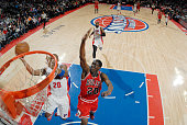 Jodie Meeks of the Detroit Pistons goes for the layup against the Chicago Bulls during the game on February 20 2015 at The Palace of Auburn Hills in...