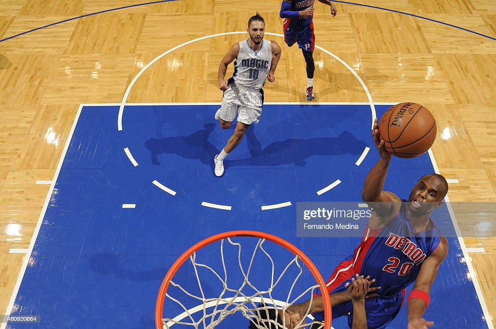 Jodie Meeks of the Detroit Pistons goes to the basket against the Orlando Magic on December 30 2014 at Amway Center in Orlando Florida NOTE TO USER...