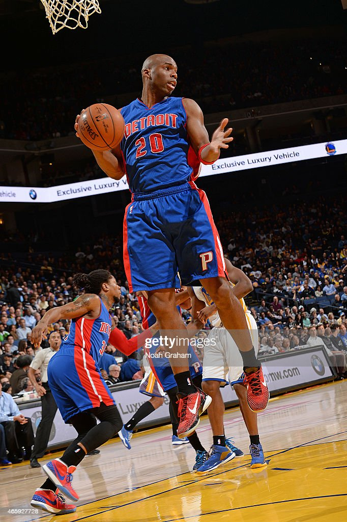 Jodie Meeks of the Detroit Pistons grabs the rebound against the Golden State Warriors on March 11 2015 at Oracle Arena in Oakland California NOTE TO...