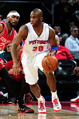 Jodie Meeks of the Detroit Pistons handles the ball against the Houston Rockets on January 31 2015 at The Palace of Auburn Hills in Auburn Hills...