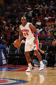 Jodie Meeks of the Detroit Pistons handles the ball against the Chicago Bulls during the game on October 7 2014 at The Palace of Auburn Hills in...