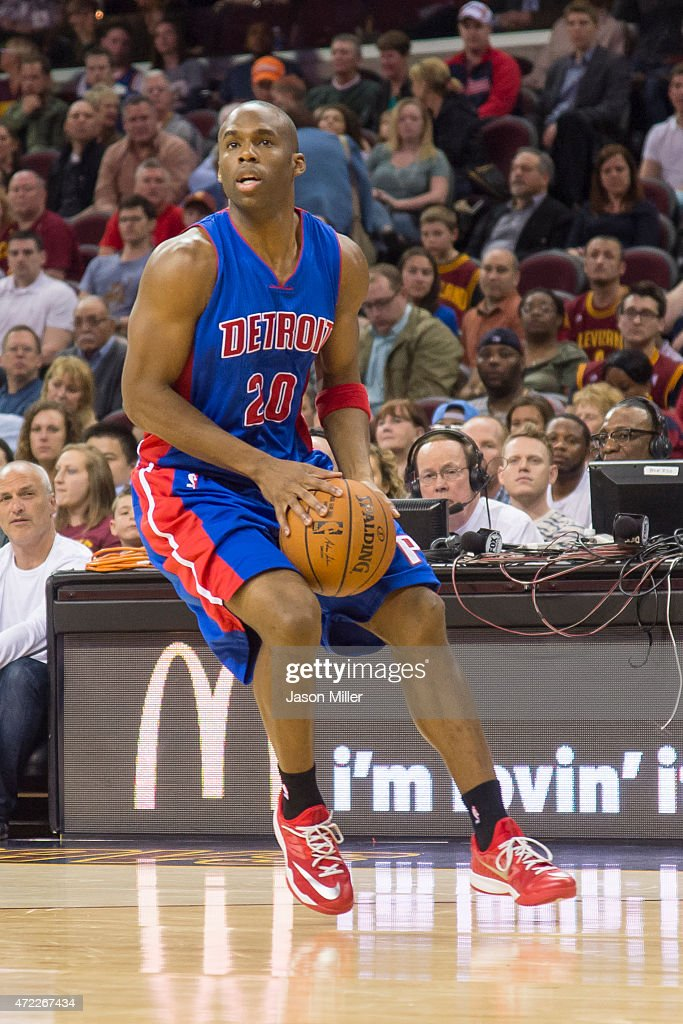 Jodie Meeks of the Detroit Pistons looks for a pass during the first half against the Cleveland Cavaliers at Quicken Loans Arena on April 13 2014 in...