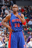 Jodie Meeks of the Detroit Pistons looks on during the game against the Charlotte Hornets on April 1 2015 at Time Warner Cable Arena in Charlotte...