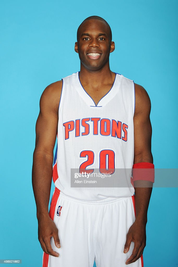 Jodie Meeks #20 of the Detroit Pistons poses during Detroit Pistons Media Day on September 29, 2014 in Auburn Hills, Michigan.