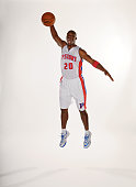 Jodie Meeks of the Detroit Pistons poses for a portrait during Detroit Pistons Media Day on September 29 2014 at The Palace of Auburn Hills in Auburn...