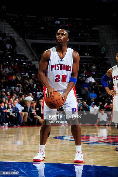 Jodie Meeks of the Detroit Pistons prepares to shoot a free throw against the Dallas Mavericks on December 17 2014 at the Palace of Auburn Hills in...