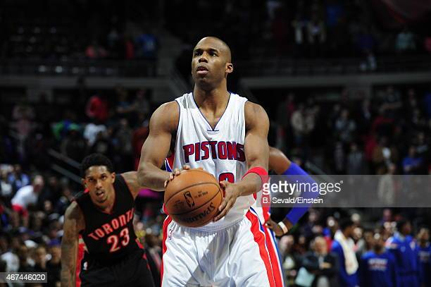 Jodie Meeks of the Detroit Pistons prepares to shoot a free throw against the Toronto Raptors on March 24 2015 at the Palace of Auburn Hills in...