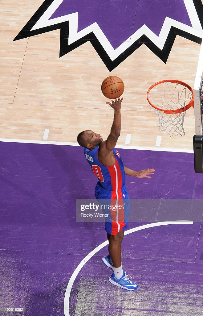 Jodie Meeks of the Detroit Pistons shoots a layup against the Sacramento Kings on December 13 2014 at Sleep Train Arena in Sacramento California NOTE...