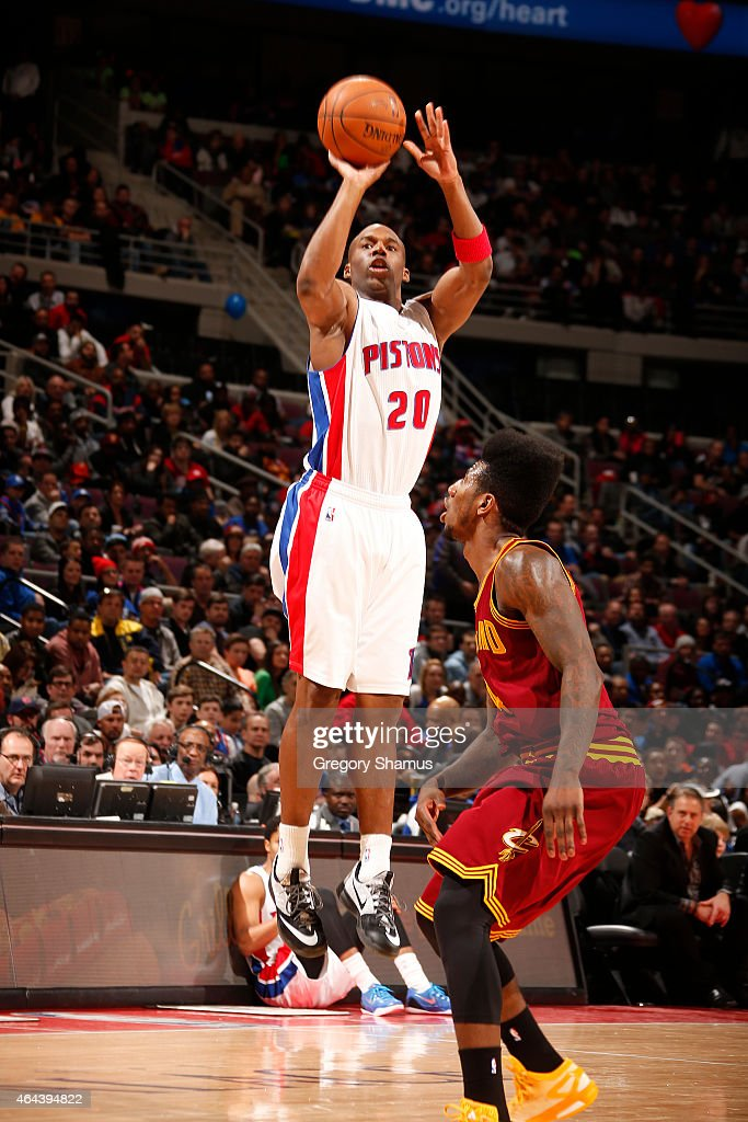 Jodie Meeks of the Detroit Pistons shoots against the Cleveland Cavaliers on February 24 2015 at The Palace of Auburn in Hills in Detroit Michigan...