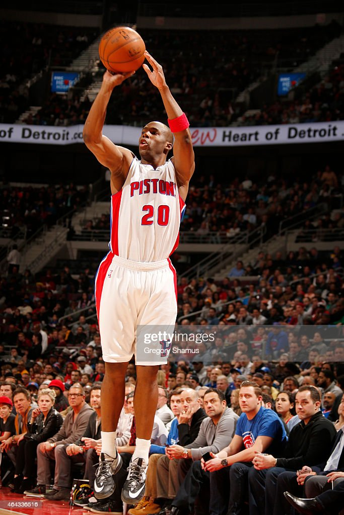 Jodie Meeks of the Detroit Pistons shoots against the Cleveland Cavaliers during the game on February 24 2015 at The Palace of Auburn in Hills in...