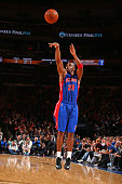 Jodie Meeks of the Detroit Pistons shoots the ball against the New York Knicks during the game on January 2 2015 at Madison Square Garden in New York...