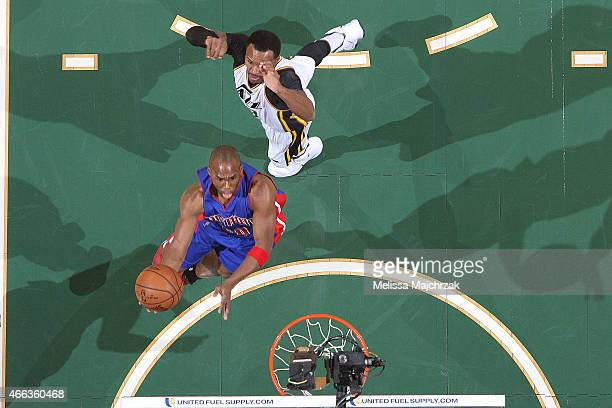 Jodie Meeks of the Detroit Pistons shoots the ball against the Utah Jazz on March 14 2015 at EnergySolutions Arena in Salt Lake City Utah NOTE TO...