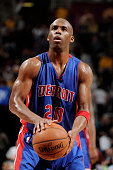 Jodie Meeks of the Detroit Pistons stands on the court during a game against the Cleveland Cavaliers at The Quicken Loans Arena on April 13 2015 in...