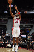 Jodie Meeks of the Detroit Pistons takes a jump shot against the Atlanta Hawks on October 23 2015 at The Palace of Auburn Hills in Auburn Hills...