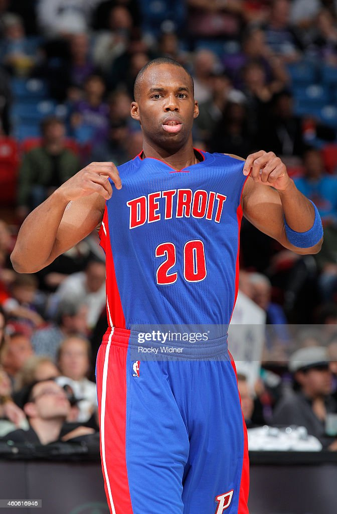 Jodie Meeks of the Detroit Pistons walks on the court against the Sacramento Kings on December 13 2014 at Sleep Train Arena in Sacramento California...