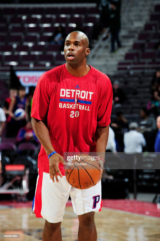 Jodie Meeks of the Detroit Pistons warms up before the game against the Chicago Bulls on February 20 2015 at The Palace of Auburn Hills in Detroit...