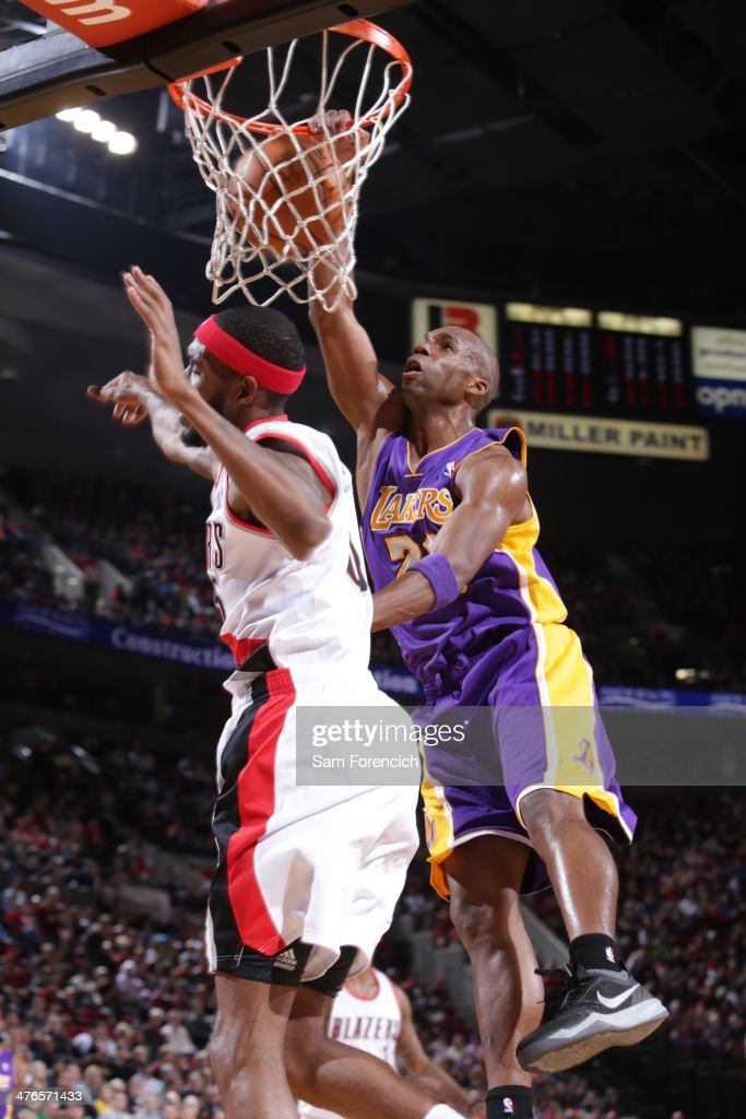 Jodie Meeks of the Los Angeles Lakers dunks the ball against the Portland Trailblazers on March 3 2014 at the Moda Center Arena in Portland Oregon...