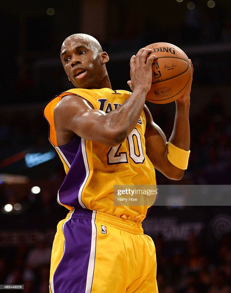 <a gi-track='captionPersonalityLinkClicked' href=/galleries/search?phrase=Jodie+Meeks&family=editorial&specificpeople=4001727 ng-click='$event.stopPropagation()'>Jodie Meeks</a> #20 of the Los Angeles Lakers grabs a rebound during the game against the New York Knicks at Staples Center on March 25, 2014 in Los Angeles, California.