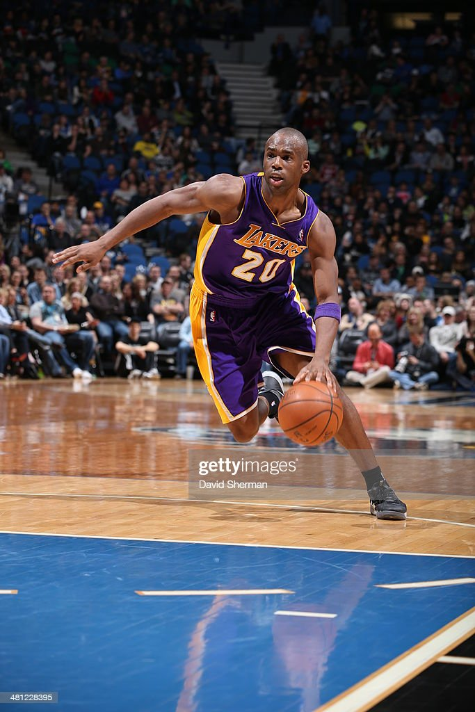 <a gi-track='captionPersonalityLinkClicked' href=/galleries/search?phrase=Jodie+Meeks&family=editorial&specificpeople=4001727 ng-click='$event.stopPropagation()'>Jodie Meeks</a> #20 of the Los Angeles Lakers handles the ball against the Minnesota Timberwolves on March 28, 2014 at Target Center in Minneapolis, Minnesota.