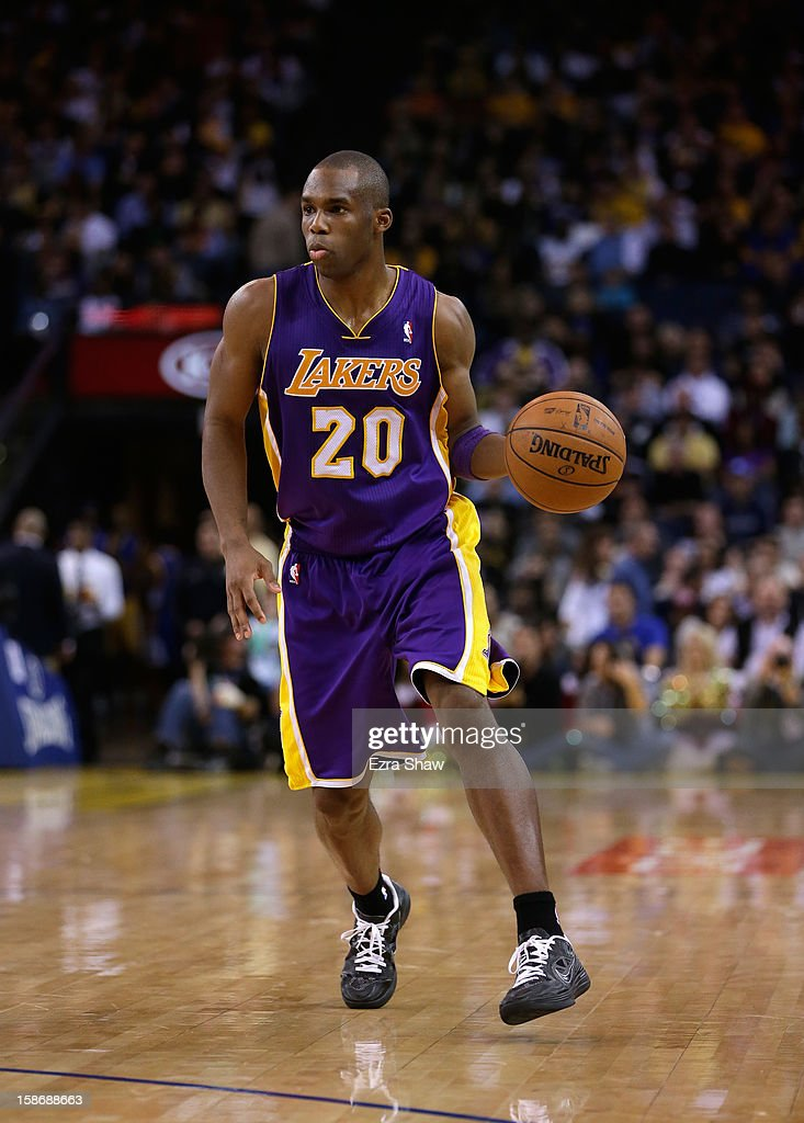Jodie Meeks #20 of the Los Angeles Lakers in action against the Golden State Warriors at Oracle Arena on December 22, 2012 in Oakland, California.