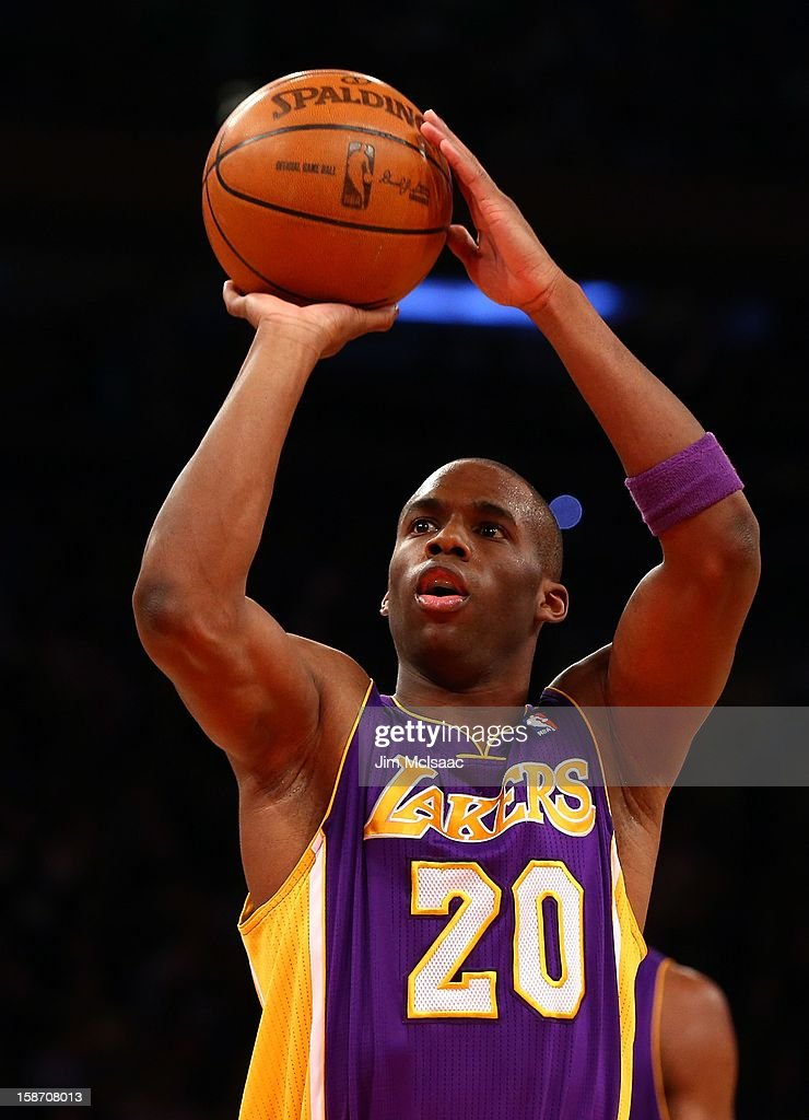 Jodie Meeks #20 of the Los Angeles Lakers in action against the New York Knicks at Madison Square Garden on December 13, 2012 in New York City. The Knicks defeated the Lakers 116-107.