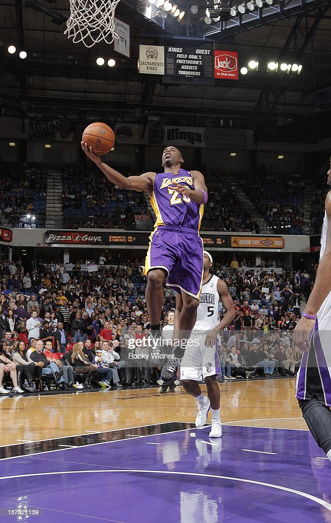 <a gi-track='captionPersonalityLinkClicked' href=/galleries/search?phrase=Jodie+Meeks&family=editorial&specificpeople=4001727 ng-click='$event.stopPropagation()'>Jodie Meeks</a> #20 of the Los Angeles Lakers lays the ball in against the Sacramento Kings on November 21, 2012 at Sleep Train Arena in Sacramento, California.