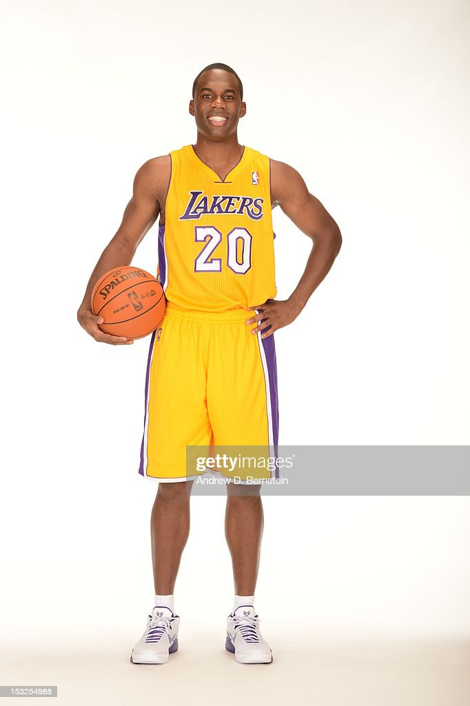 <a gi-track='captionPersonalityLinkClicked' href=/galleries/search?phrase=Jodie+Meeks&family=editorial&specificpeople=4001727 ng-click='$event.stopPropagation()'>Jodie Meeks</a> #20 of the Los Angeles Lakers poses for a photo during Media Day at Toyota Sports Center on October 1, 2012 in El Segundo, California.