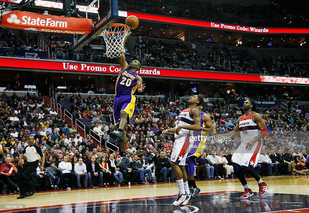 <a gi-track='captionPersonalityLinkClicked' href=/galleries/search?phrase=Jodie+Meeks&family=editorial&specificpeople=4001727 ng-click='$event.stopPropagation()'>Jodie Meeks</a> #20 of the Los Angeles Lakers puts up a shot against the Washington Wizards at Verizon Center on December 14, 2012 in Washington, DC.