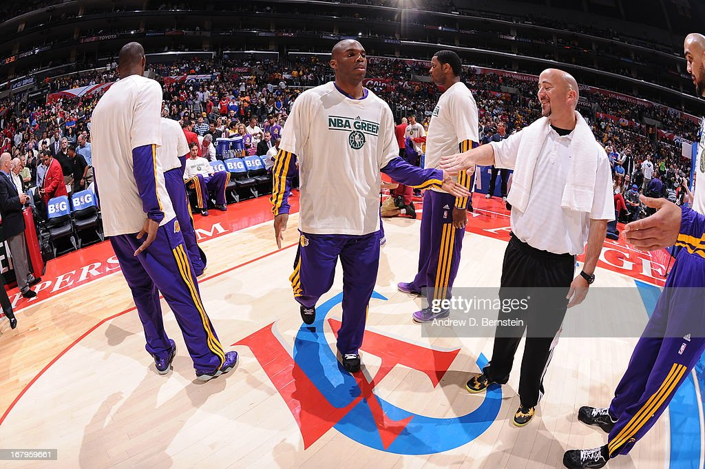 <a gi-track='captionPersonalityLinkClicked' href=/galleries/search?phrase=Jodie+Meeks&family=editorial&specificpeople=4001727 ng-click='$event.stopPropagation()'>Jodie Meeks</a> #20 of the Los Angeles Lakers runs out before the game against the Los Angeles Clippers at Staples Center on April 7, 2013 in Los Angeles, California.