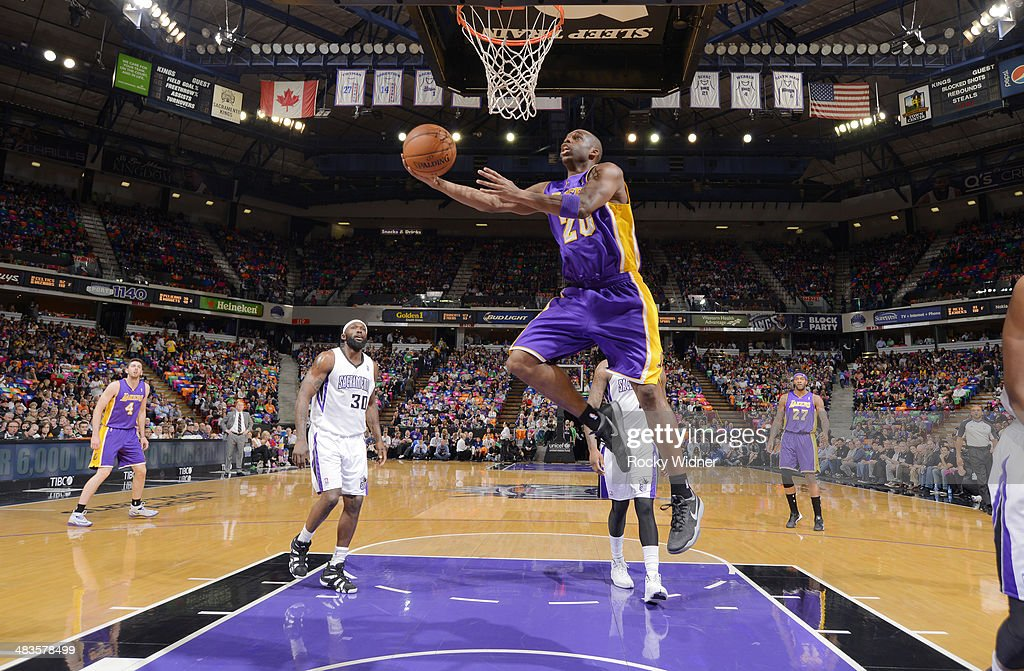 <a gi-track='captionPersonalityLinkClicked' href=/galleries/search?phrase=Jodie+Meeks&family=editorial&specificpeople=4001727 ng-click='$event.stopPropagation()'>Jodie Meeks</a> #20 of the Los Angeles Lakers shoots a layup against the Sacramento Kings on April 2, 2014 at Sleep Train Arena in Sacramento, California.