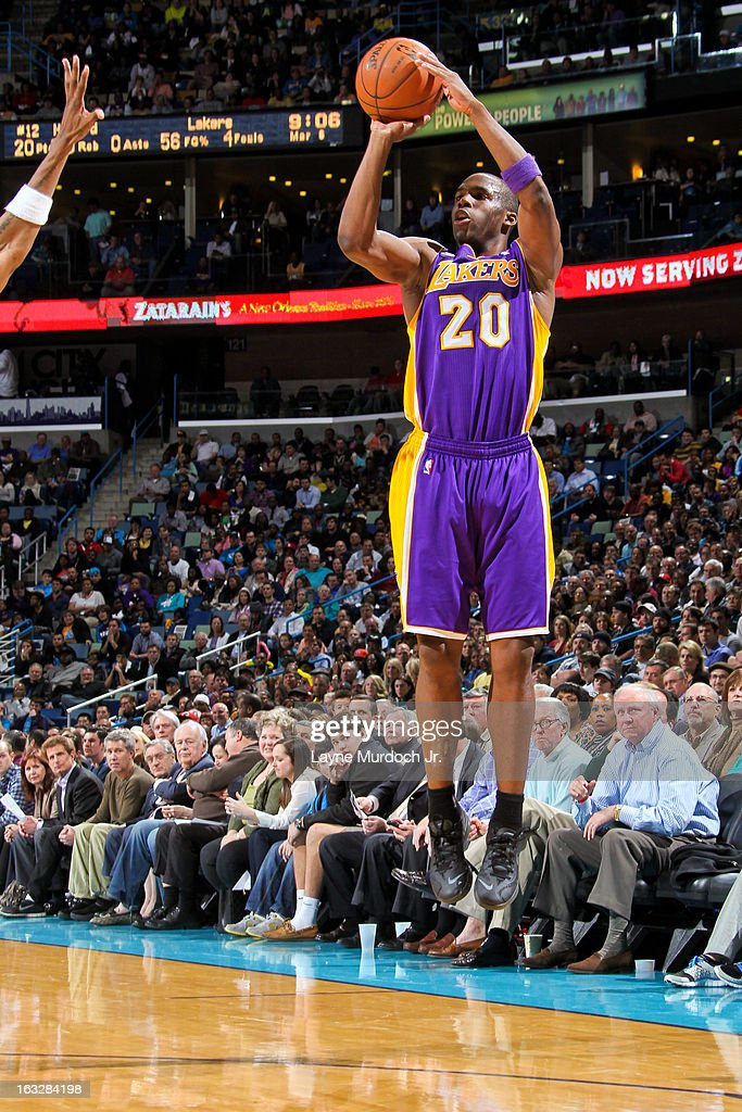 <a gi-track='captionPersonalityLinkClicked' href=/galleries/search?phrase=Jodie+Meeks&family=editorial&specificpeople=4001727 ng-click='$event.stopPropagation()'>Jodie Meeks</a> #20 of the Los Angeles Lakers shoots a three-pointer against the New Orleans Hornets on March 6, 2013 at the New Orleans Arena in New Orleans, Louisiana.
