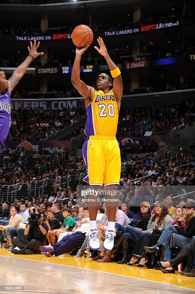 <a gi-track='captionPersonalityLinkClicked' href=/galleries/search?phrase=Jodie+Meeks&family=editorial&specificpeople=4001727 ng-click='$event.stopPropagation()'>Jodie Meeks</a> #20 of the Los Angeles Lakers shoots against the Sacramento Kings during a pre-season game at Staples Center on October 21, 2012 in Los Angeles, California.