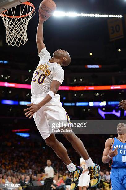 Jodie Meeks of the Los Angeles Lakers shoots during a game against the Oklahoma City Thunder at STAPLES Center on March 9 2014 in Los Angeles...